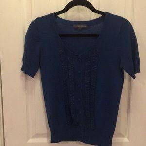 Teal Blue ruffle cardigan size L